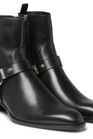 Men Fashion High Ankle Side Zipper Black Boot, Men Genuine Leather Boot