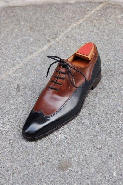 Handmade Men Brown And Black Two Tone Formal Shoes, Men Dress Shoes, Men leather shoes