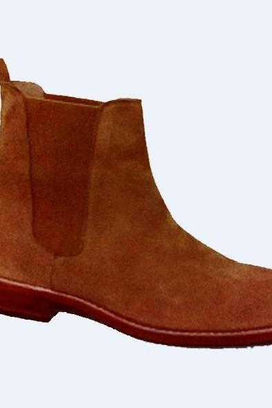 Handmade mens Tan color Chelsea suede leather boots, Men suede leather boot, Boot for men