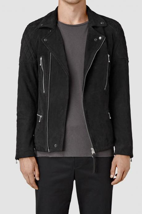 Men's fashion black suede leather jacket, Suede jacket for men, Men's jackets