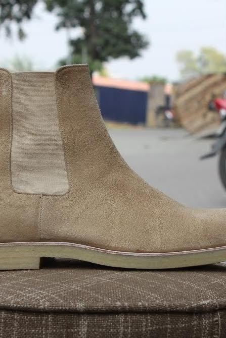 Handmade mens Beige color chelsea suede leather boots, Men Beige suede boots