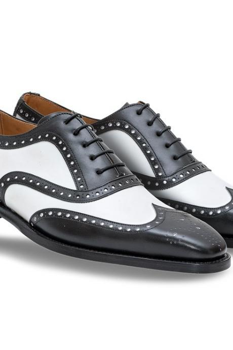 Handmade Mens Black And White Wingtip Brogue Formal Shoes, Tuxedo Dress Shoes