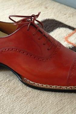 Handcrafted Men Red Color Dress Shoes,Men Formal Shoes, Mens Leather Shoes