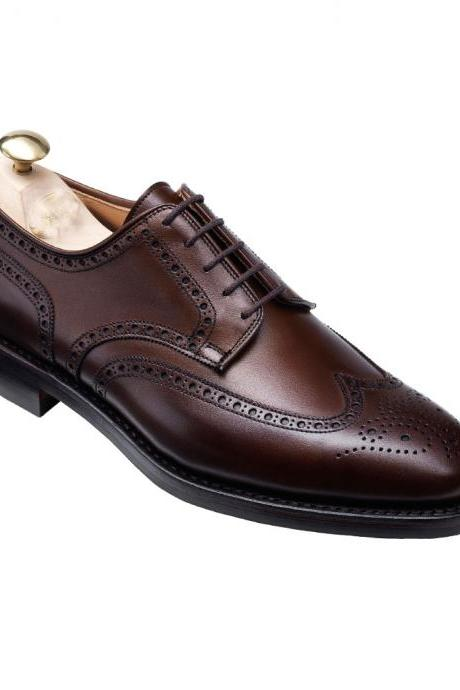Handmade men wingtip brogue formal leather shoes, Men dress shoes, Mens leather shoes