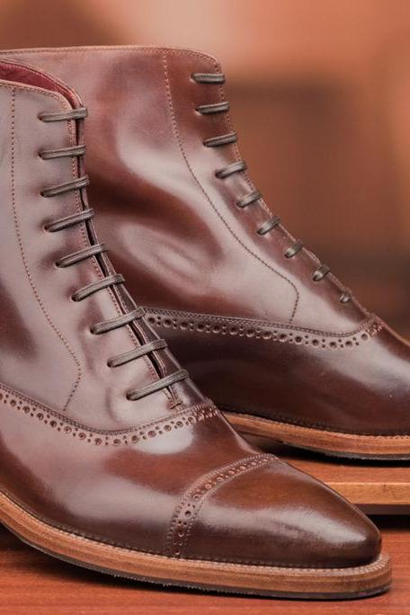 Handmade Men's Brown Leather Boots, New Men Lace Up Cap Toe Leather Boot