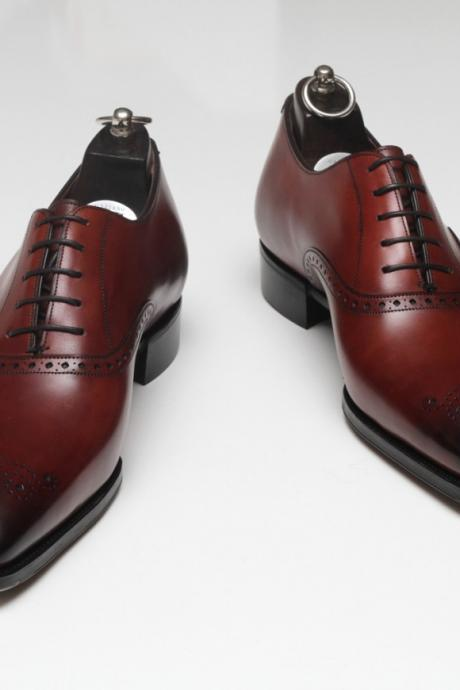 Handmade Mens Formal Leather Shoes, Men Maroon Dress Leather Shoes, Men's shoes