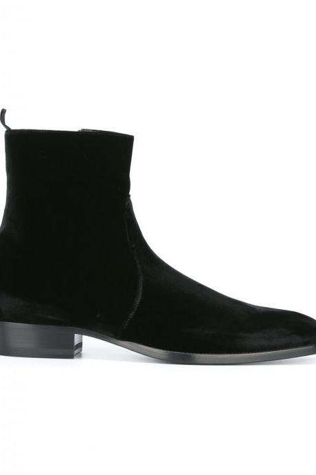 Men's Black Chelsea boots, Men black ankle high boot, Mens Velvet leather boot