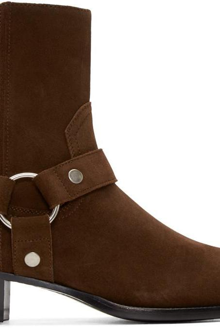 Handmade Men's Brown zid zipper with strap around ankle boots, Men Suede boots
