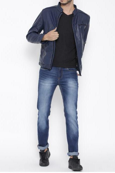 Men's Fashion navy blue biker slimfit leather jacket, Blue Leather jacket mens, Men leather jackets
