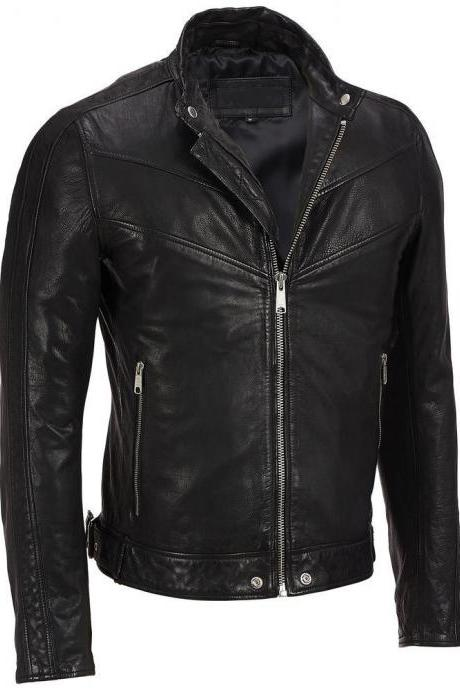 Handmade Mens black leather jacket, Men blasck bomber jacket, Men biker jackets