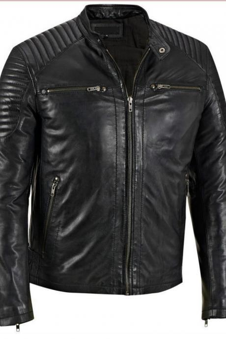Men black leather jacket, Biker leather jacket mens, Mens real leather jackets