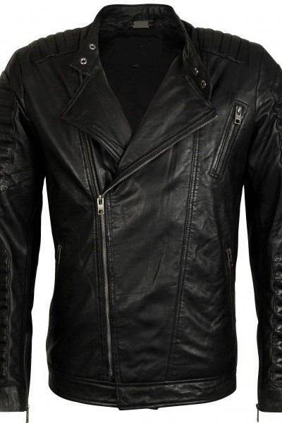 Mens black biker leather jacket, Leather for mens, Mens black notorcycle jacket