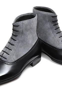 Handmade Men Black and gray lace-up boot, Mens ankle two tone boot, Boot for men