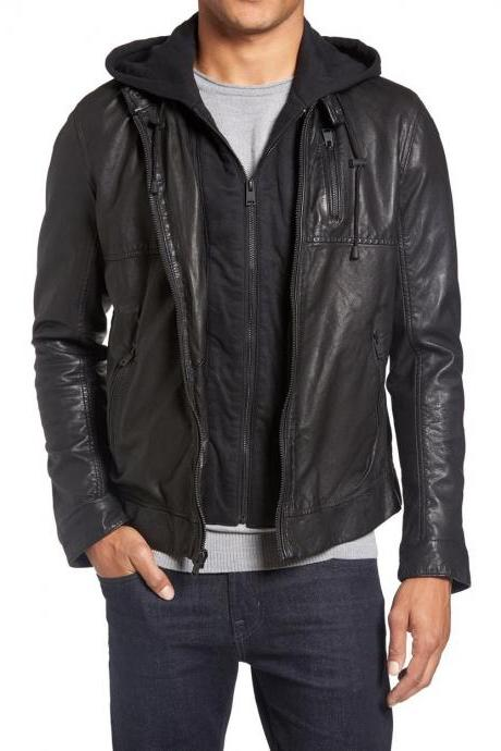 Mens black removable hooded jacket, Black leather jacket, Hooded leather jacket
