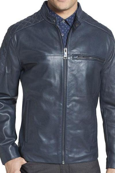 Mens Navy blue leather jacket, Men biker leather jacket, Blue leather jacket men