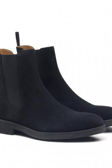 Handmade Men's black crepe sole boot, Men black suede chelsea boot, Ankle boot