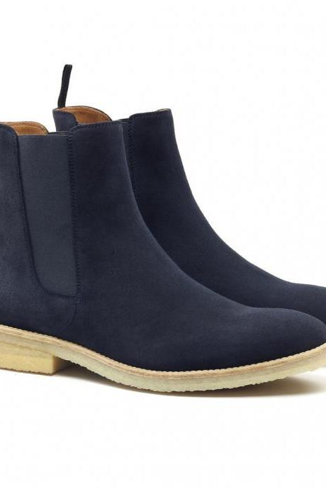 Handmade Men's Navy blue color chelsea boot, Men Blue color suede Chelsea boot