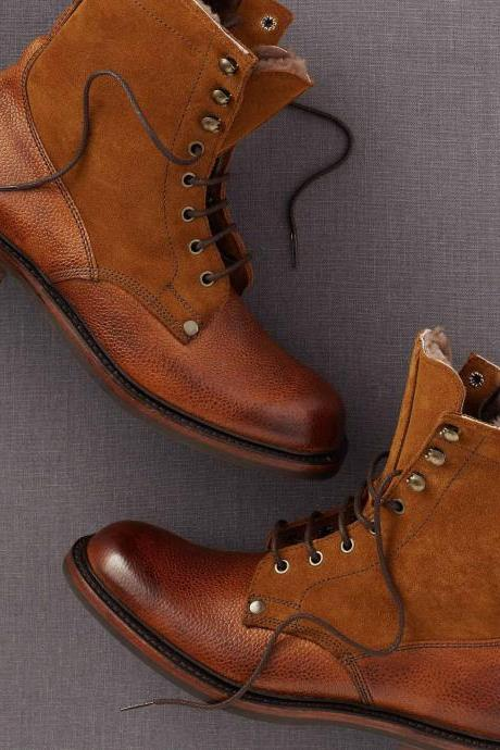 Handmade Mens fashion Tan color ankle boot, Men leather and suede lace up boot