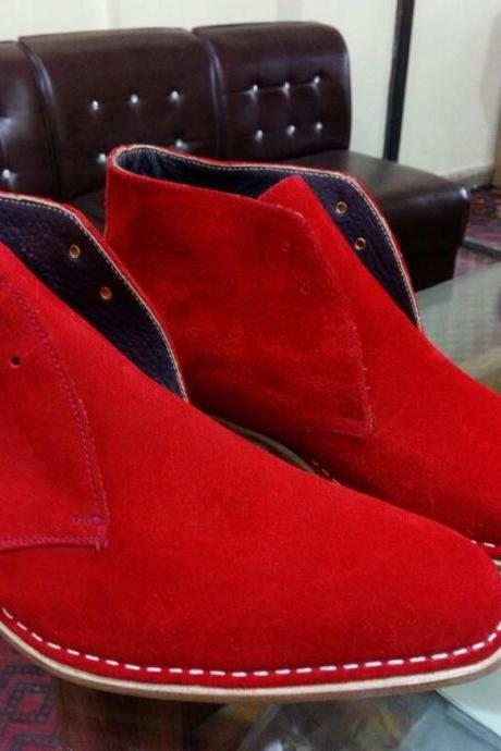 Handmade Mens Red color suede chukka boots, Men Red lace up suede leather boot