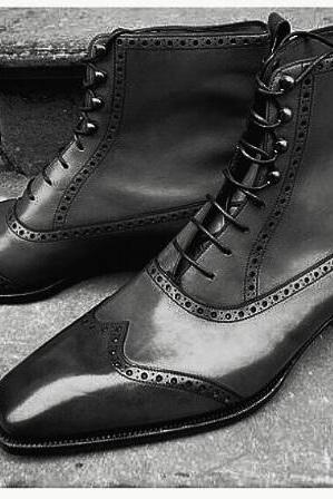 Handmade Men fashion Black color ankle boot, Mens wingtip leather lace up boot