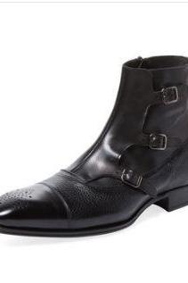 Handmade Mens fashion tripple monk closure boots, Men cap toe ankle leather boot