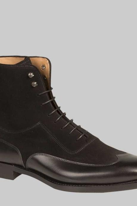 Handmade Mens black color ankle leather boot, Mens Wing tip ankle lace up boots