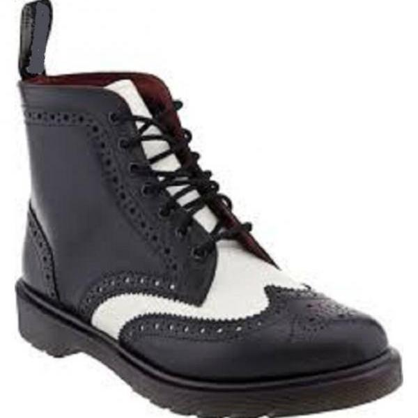 New Men Black And White Wingtip Ankle Boot, Men Real Leather Ankle Boots, Mens digger sole boot