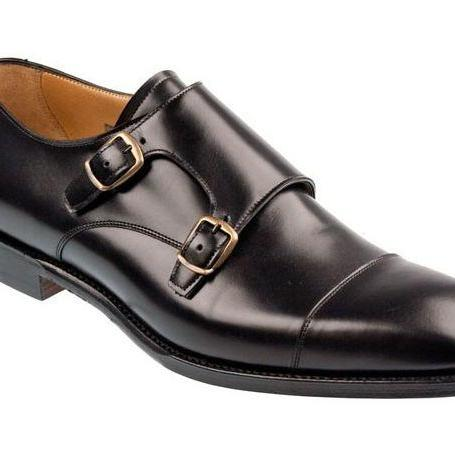Handmade Men Double Monk Dress Shoes, Men Monk Shoes, Men Black Dress Shoes