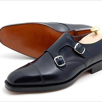 Handmade Men Double Monk Dress Shoes, Men Monk Shoes, Men Black Formal Shoe