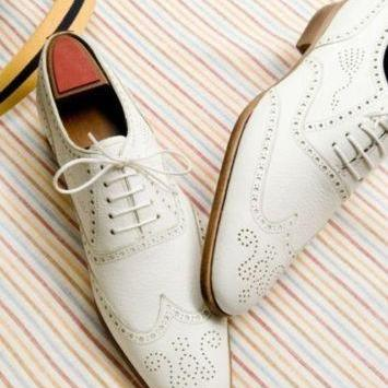 Handmade men fashion wingtip brogue white leather shoes, Men white formal shoes