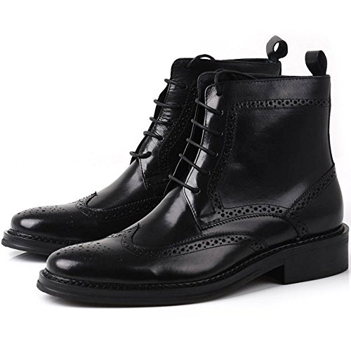 Handmade Men Black Wingtip Brogue Ankle Dress Leather Boot Men Leather Boot