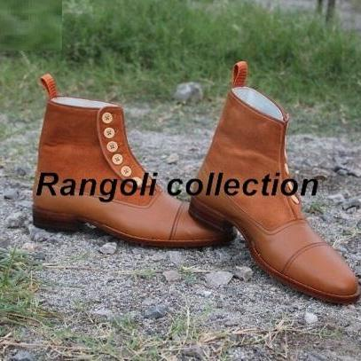 Handmade Men Button boots, Men Tan color ankle boots, Mens boots, Leather boots
