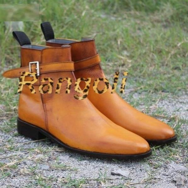 Handmade Men Tan Color Jodhpurs Leather Boot, Men Jodhpurs Ankle Boots, Men boot