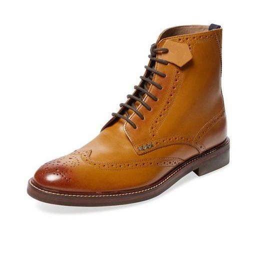 Handmade Men Tan color wing tip brogue marching boots, Men ankle leather boots