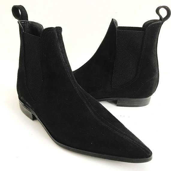 Handmade Men Black Color Suede Chelsea Boots Men Black Fashion Chelsea Boot