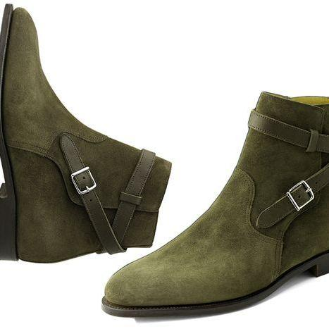 Handmade mens fashion Green jodhpurs ankle leather boots, Men ankle boots