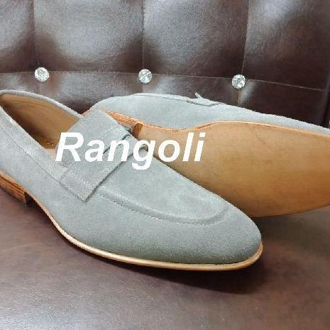 Handmade Mens Gray color Suede leather shoes, Men gray suede moccasins loafer