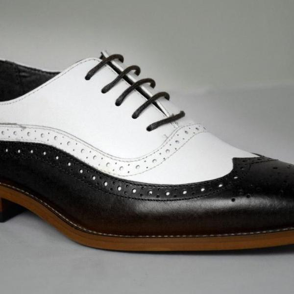 Handmade Men two tone formal shoes, Men Spectator shoes Men wing tip dress shoes