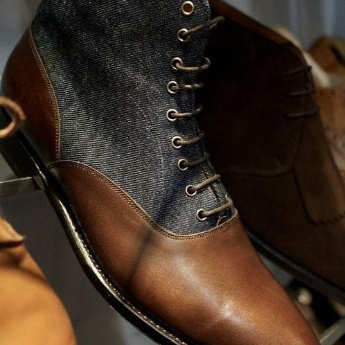 Handmade Men Two tone ankle boots, Men brown leather and Gray denim ankle boots