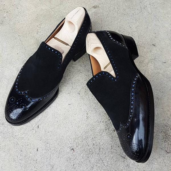 Handmade Men Fashion style black formal Shoes, Men wingtip brogue leather Shoes