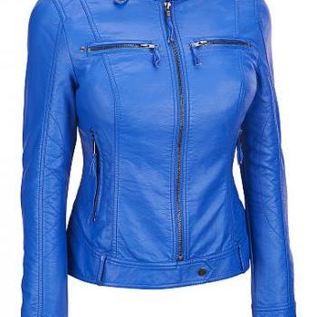 Women Blue Leather Jacket,..