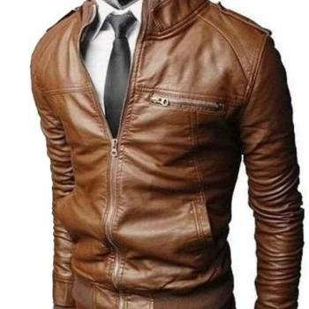 Handmade MEN BROWN SLIM FIT LEATHER JACKET, REAL LEATHER JACKET