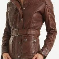 Women brown belted leather jacket