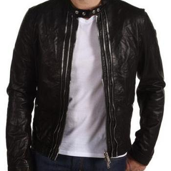 MEN STYLISH DOUBLE ZIPPER LEATHER JACKET,REAL LEATHER