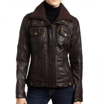 Women Brown Biker Leather ..
