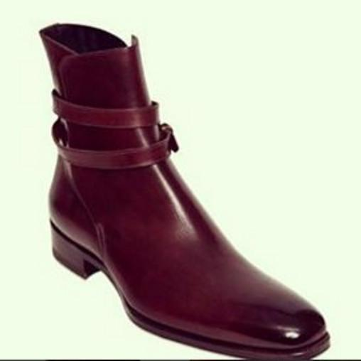 Handmade mens Jodhpurs boots, Mens fashion burgundy ankle high real leather boots