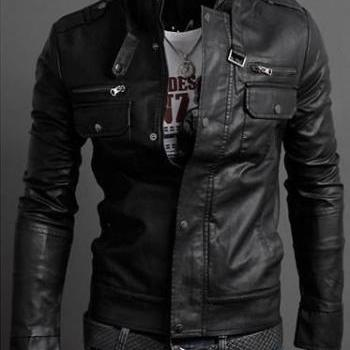 MEN STAND COLLAR LEATHER JACKET, MENS BLACK JACKET, MEN'S BIKER LEATHER JACKET