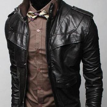 MEN BLACK COLOR LEATHER JACKET WITH RIB COLLAR, MENS SLIM FIT JACKET