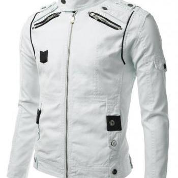 WOMENS BIKER JACKET, WHITE COLOR MOTORCYCLE JACKET, WOMEN BIKER JACKET