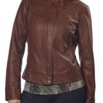 WOMENS BIKER JACKET, BROWN COLOR WOMEN JACKET, WOMEN FASHION JACKET